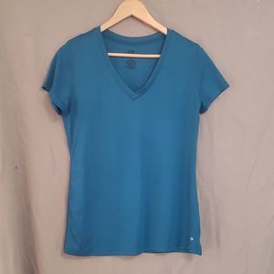 Champion teal duo dry vneck t shirt